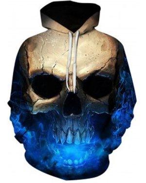Hooded 3D Skull Print Trippy Hoodie