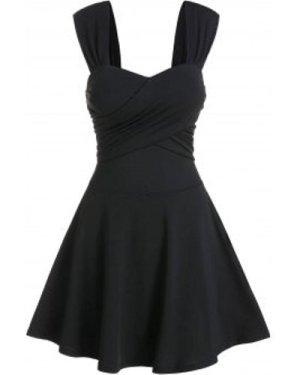 Sleeveless Crossover Flare Dress
