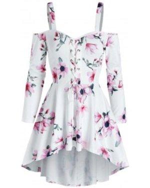 Flower Print Lace-up Cold Shoulder High Low Dress