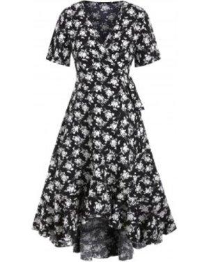 Floral Flounce High Low Wrap Dress