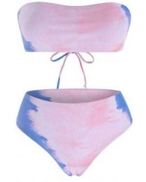 Tie Dye Lace Up Bandeau Bikini Swimwear