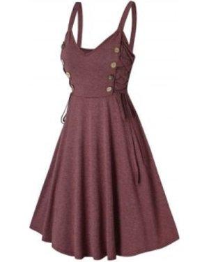 Mock Button Side Lace Up Cami A Line Dress