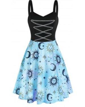 Metal Chain Starry Print High Waist Cami Dress