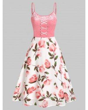 Floral Print Crisscross A Line Dress