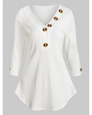 Mock Button V Neck Roll Tab Sleeve T Shirt