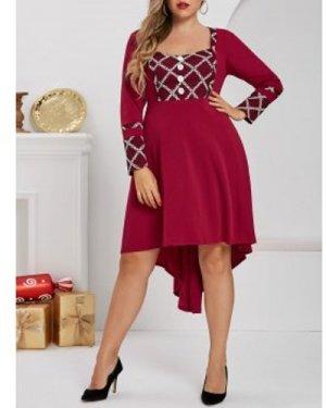 Plus Size Dip Hem Mesh Insert Square Neck Dress