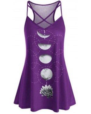 Plus Size Moon Flower Print Criss Cross Long Cami Top