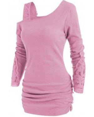 Skew Neck Lace Insert Blouson Knitwear