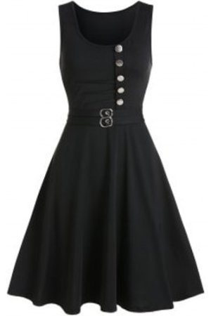 Button Buckle Embellished Fit And Flare Dress