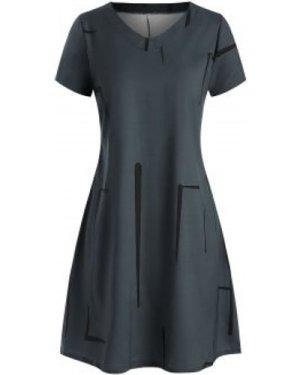 V Neck Printed Casual Mini Dress