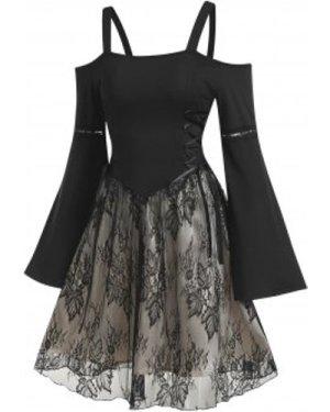 Open Shoulder Flare Sleeve Overlay Lace Mini Dress