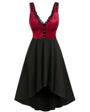 Sleeveless Velvet Insert High Low Vintage Dress