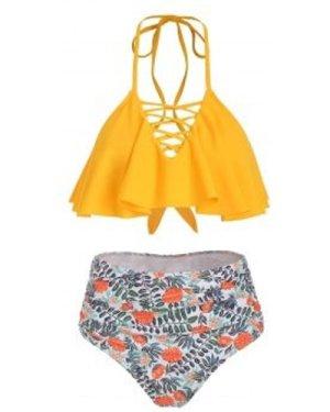 Lattice Flounce Plant Print Halter Bikini Swimsuit