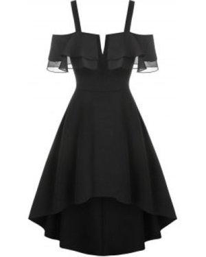 V-wire Flounce High Low Chiffon Dress