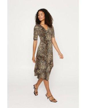 Womens Animal Ruffle Tiered Midi Dress, Animal