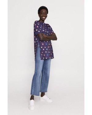 Womens Heart Print Split Side T Shirt - navy, Navy