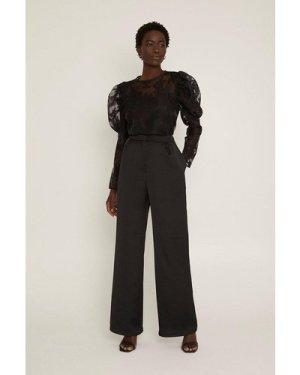 Womens Satin Back Wide Leg Trouser - black, Black