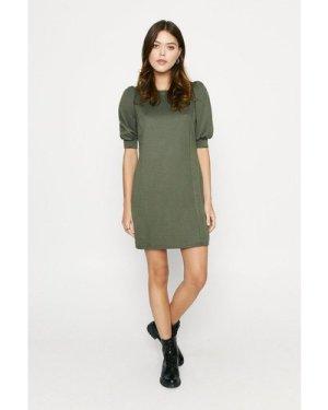 Womens Structured Sweat Dress - khaki, Khaki