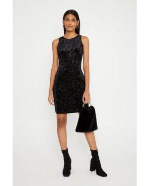 Womens Glitter Velvet Racer Bodycon Dress - black, Black