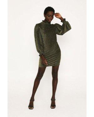 Womens Glitter Shirred Shift Dress - gold, Gold