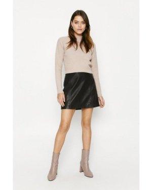 Womens Leather Mini Skirt - burgundy, Burgundy