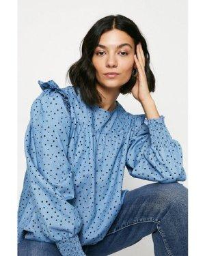 Womens Spotty Frill Sleeve Blouse - multi, Multi