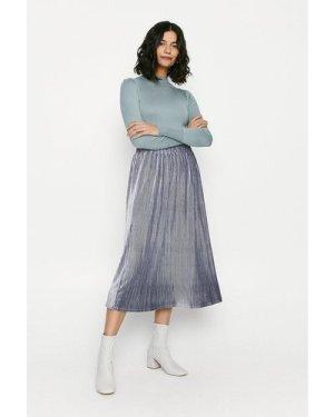 Womens Glitter Velvet Pleated Midi Skirt - blue, Blue