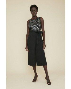 Womens Sequin Bodice Jumpsuit - black, Black