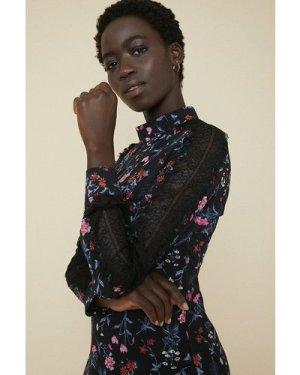 Womens Floral Lace Insert Skater Dress - black, Black