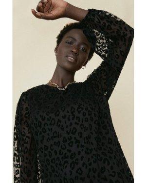 Womens Animal Burnout Tiered Hem Dress - black, Black