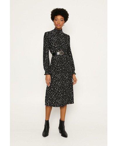 Womens Shirred Ditsy Midi Dress - black, Black