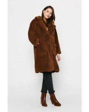 Womens Longline Patch Pocket Teddy Coat - tan, Tan