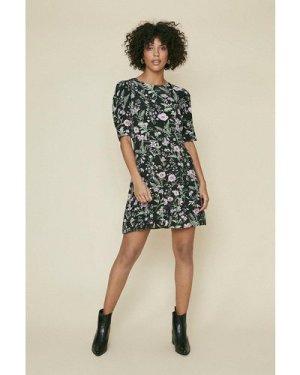 Womens Mini Tiered Hem Dress - black, Black