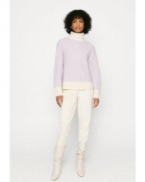 Womens Colour Block Jumper - lilac, Lilac