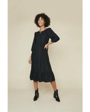Womens Textured Midi Dress - black, Black