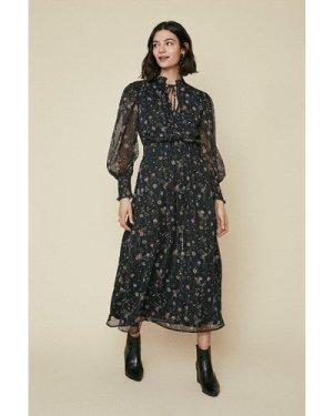 Womens Sparkle Floral Midi Dress - black, Black
