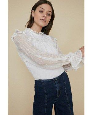 Womens Trim Creased Dobby Long Sleeve Blouse - white, White