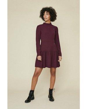 Womens Button Pleat Dress - purple, Purple