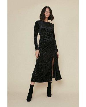 Womens Glitter Velvet Ruched Midi Dress - black, Black