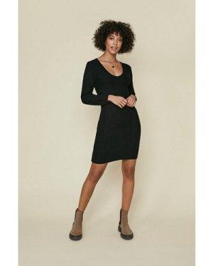 Womens Stitch detail dress - black, Black