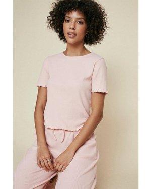 Womens Brushed Rib Lettuce Edge T Shirt - pink, Pink