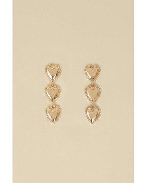 Womens Triple Heart Drop Earrings - gold, Gold