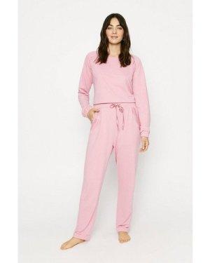 Womens Lace Trim Cuffed Jogger - dusky pink, Dusky Pink