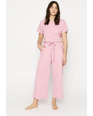 Womens Lace Trim Wide Leg Jogger - dusky pink, Dusky Pink