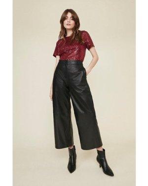 Womens Short Sleeve Sequin T-Shirt - berry, Berry