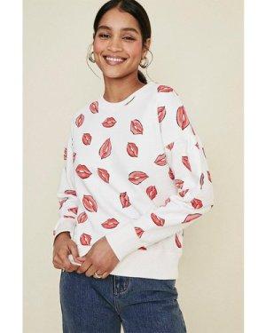 Womens Lips Printed Sweatshirt - multi, Multi