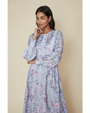 Womens Floral Printed Trimmed Midi Dress - multi, Multi