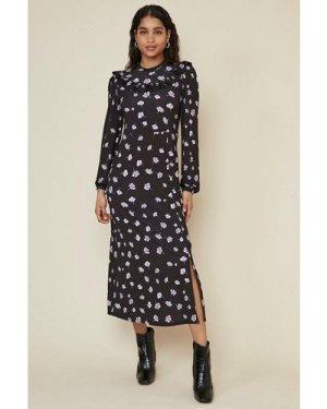 Womens Ruffle Bib Floral Midi Dress - black, Black