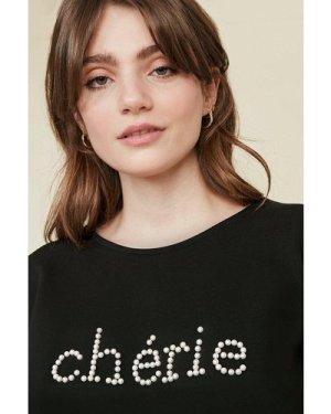 Womens Cherie Slogan Top - black, Black