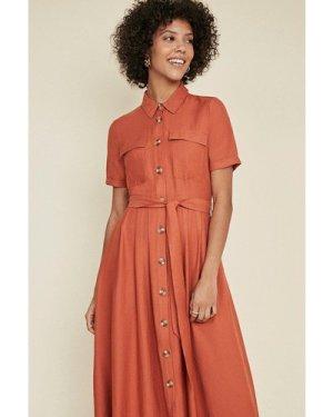 Womens Linen Look Button Through Shirt Dress - rust, Rust